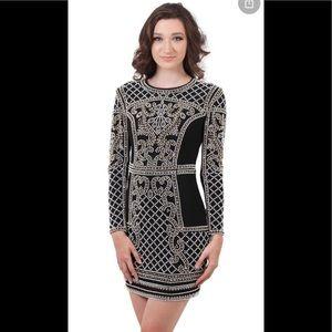 Xscape Women's Beaded Long Sleeves Sheath Dress